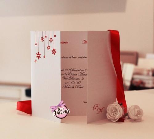 partecipazione di nozze in carta perlata-tema natale-coi fiocchi