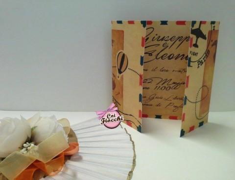 partecipazioni-di-nozze-ecologiche-in-carta-riciclata a tema viaggio vintage