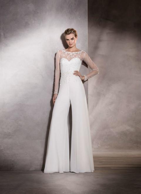 abito-da-sposa con pantaloni-pronovias-2017 modello ALMA