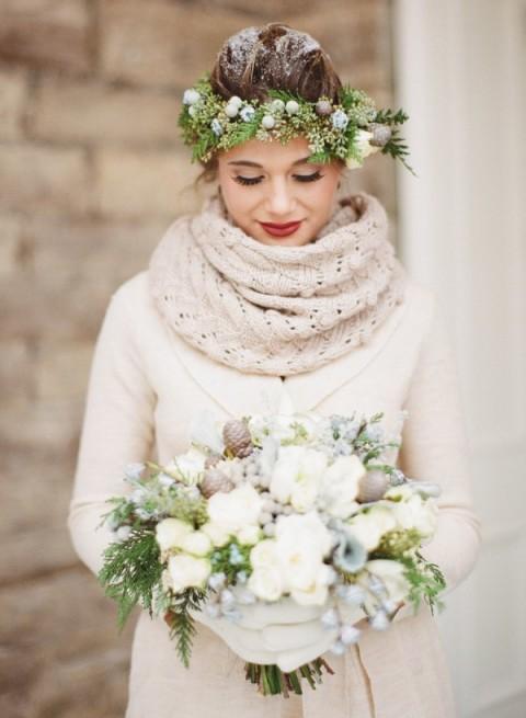 alternative tag_idee per matrimonio natalizio_bouquet bianco