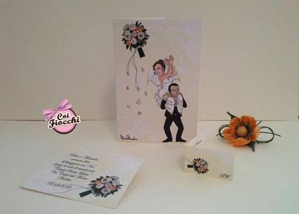 coordinato nozze con caricatura formato da partecipazione invito e talloncino bomboniera