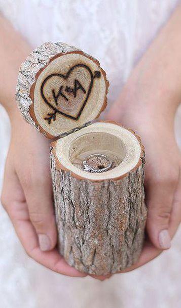 Tante belle idee con il legno per il tuo matrimonio rustico_porta anelli