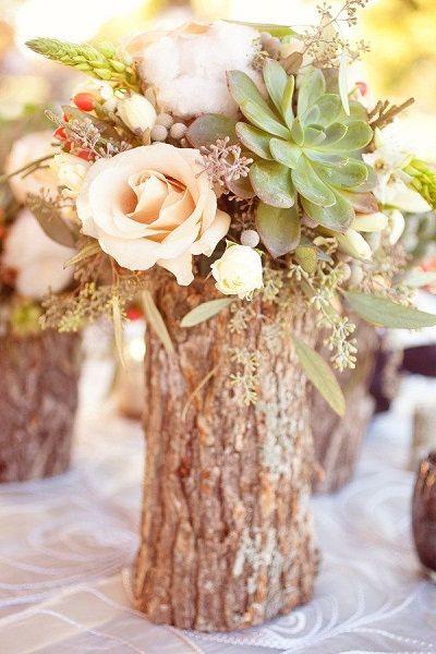 Tante belle idee con il legno per il tuo matrimonio rustico_centrotavola