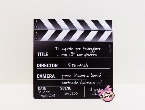 Inviti personalizzati per i tuoi 18 anni-tema cinema-ciak