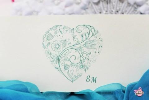 invito nozze economico con cuore decorato color tiffany