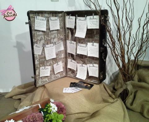 partecipazione di matrimonio tema viaggio-coi fiocchi-tableau mariage-valigia-vintage