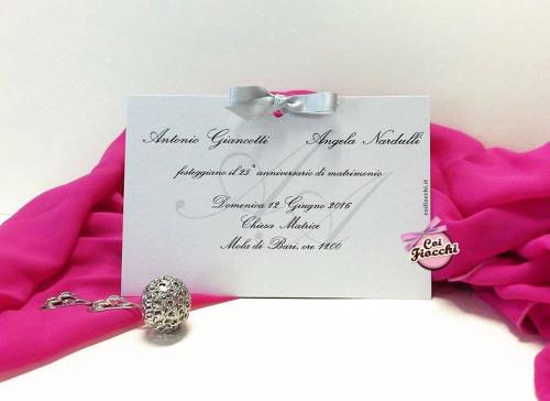 Inviti per anniversario di matrimonio_ nozze d'argento_coi fiocchi