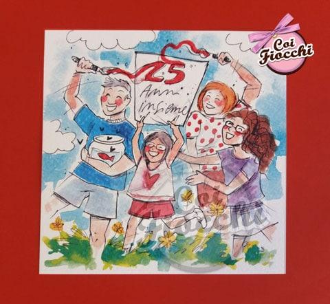 invito-25-anni-matrimonio con famiglia illustrata ad acquerello