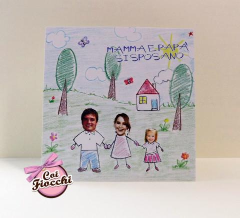 invito nozze con disegno infantile personalizzato con le foto degli sposi