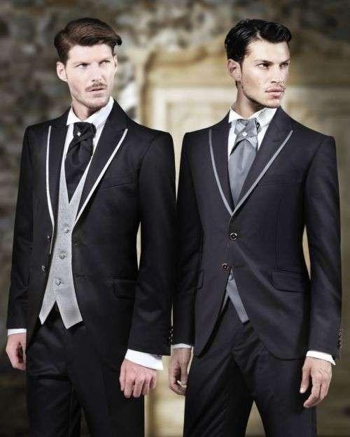 moda nozze uomo-abito profili chiari a contrasto