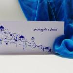Partecipazione di nozze a tema viaggio ispirata all'isola di Santorini