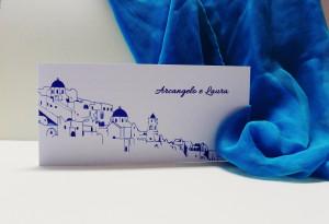 coi fiocchi partecipazione di nozze tema viaggio Santorini