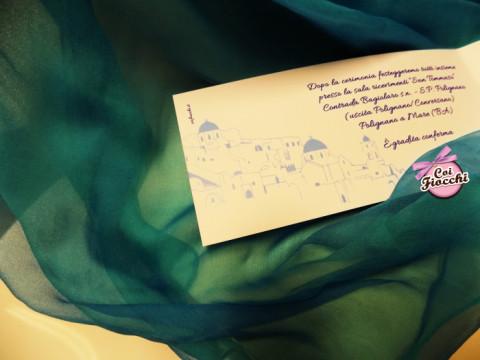Partecipazione di nozze a tema viaggio_tema Santorini_particolare interno_coi fiocchi weddin