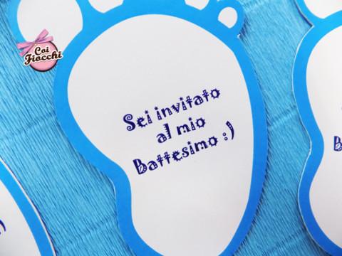 Inviti di battesimo a forma di piedini_particolare
