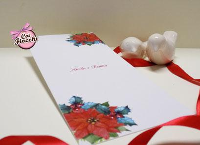 partecipazioni di nozze natalizie per chi si sposa a Dicembre con agrifoglio e stella di natale