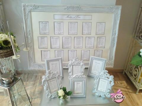 tableau mariage e cavallotti shabby con cornici classiche in legno dipinte
