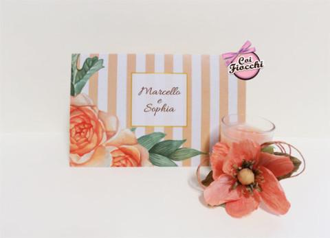 partecipazioni-di-nozzecon-stampe-vintage- a righe e fiori stile anni-50