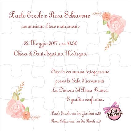 partecipazione-nozze puzzle-boho-chic-con rose delicate ad acquerello