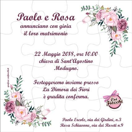 partecipazione-nozze- puzzle con rose-boho-chic- fatte a mano