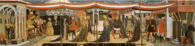 storia-dellabito-da-sposa-cosa-indossavano-le-spose-nel-medioevo-e-nel-rinascimento-corteo-nuziale-cassone-adimari-scheggia-1450