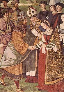 storia-dellabito-da-sposa-cosa-indossavano-le-spose-nel-medioevo-e-nel-rinascimento-pinturicchio-libreria-piccolomini