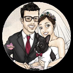 Partecipazioni di matrimonio con le caricature sposi più originali-sposi con cane