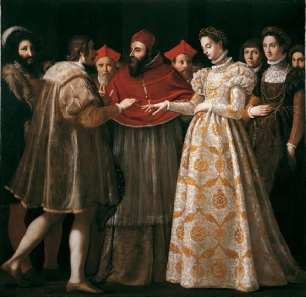 storia-dellabito-da-sposa-cosa-indossavano-le-spose-nel-medioevo-e-nel-rinascimento-nozze-di-caterina-de-medici-con-enrico-di-valois-jacopo-di-chimenti-1600