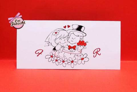 partecipazione nozze mamma e papà si sposano con sposini stilizzati disegnati