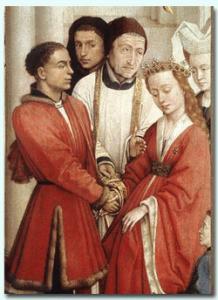 storia-dellabito-da-sposa-cosa-indossavano-le-spose-nel-medioevo-e-nel-rinascimento-particolare-trittico-i-7-sacramenti-van-der-weyden-1445