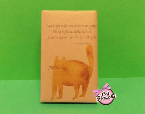 segnaposto nozze tema gatti saponetta profumata in sapone naturale con gatto e citazione