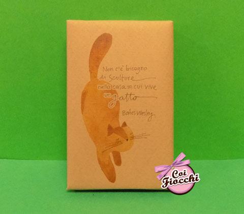 segnaposto nozze tema gatti saponetta profumata in sapone naturale con gatto rosso e citazione