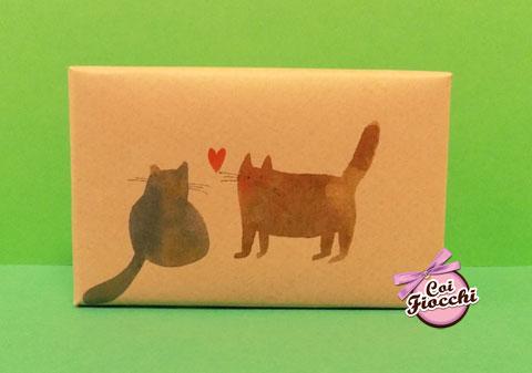 segnaposto nozze tema gatti saponetta profumata in sapone naturale con coppia di gatti