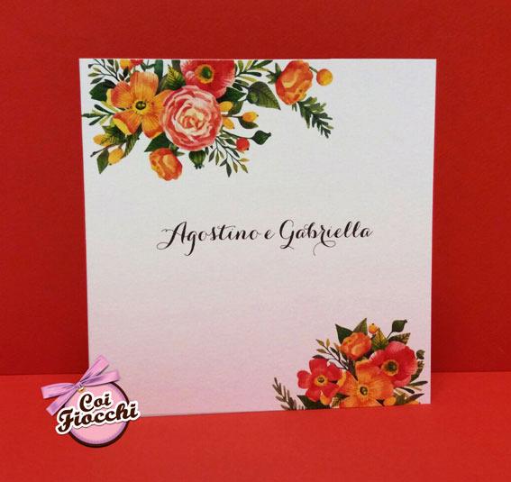 partecipazione nozze colori autunnali e fiori