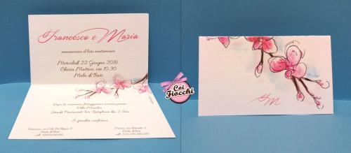 partecipazioni-di-matrimonio-boho a foglio unico con -fiori-acquerello-coi-fiocchi