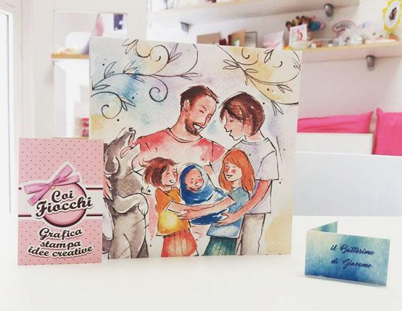 inviti-di-battesimo-personalizzati-famiglia-disegnata-ad-acquerello-coi-fiocchi-wedding-design