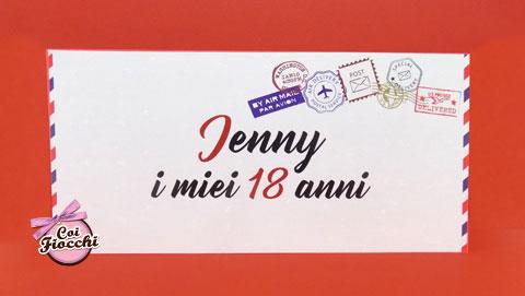 biglietto-invito-diciotto-anni-tema-viaggio posta aerea con timbri