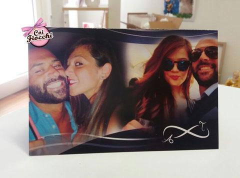 partecipazione di matrimonio elegante con collage di foto degli sposi