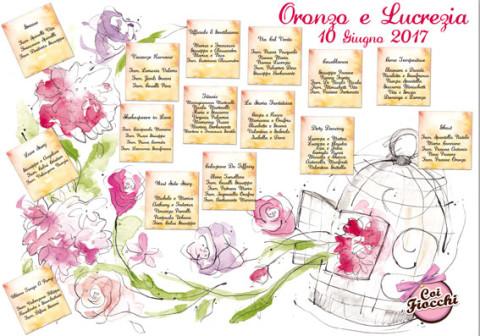 tableau-mariage-illustrato ad acquerello con fiori che fuoriescono da una gabbietta per uccelli