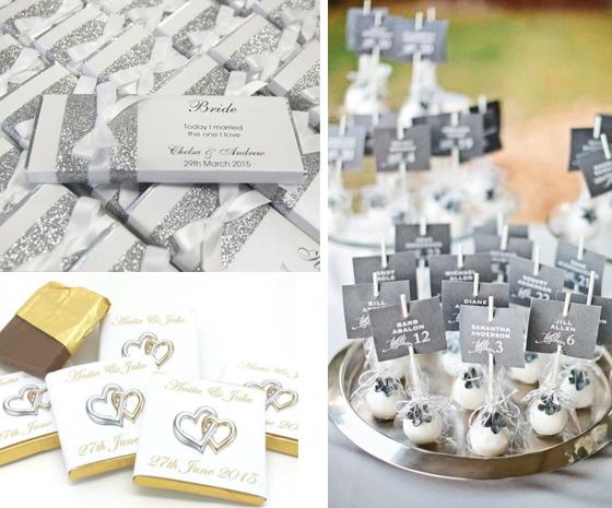 Collage di segnaposti di cioccolatini e tavolette di cioccolato personalizzabili per le nozze