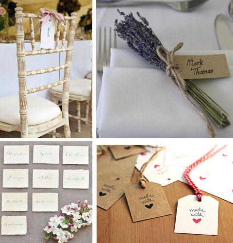 Collage di segnaposti nozze originali in carta e cartoncino