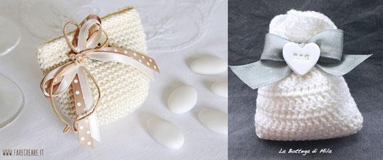 sacchetti segnaposto realizzati con la tecnica dell'amigurumi