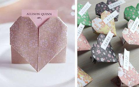 Collage di segnaposti nozze originali con cuori origami