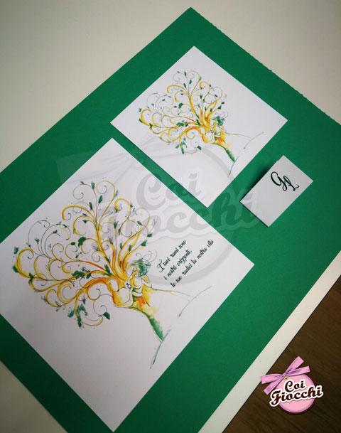 coordinato-nozze-con-illustrazione-acquerello-a-tema-albero-della-vita con sposi stilizzati che sono un tutt'uno con l'albero