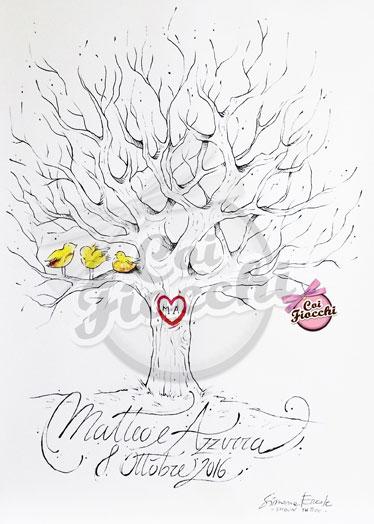 guestbook a forma di albero spoglio con uccellini posati