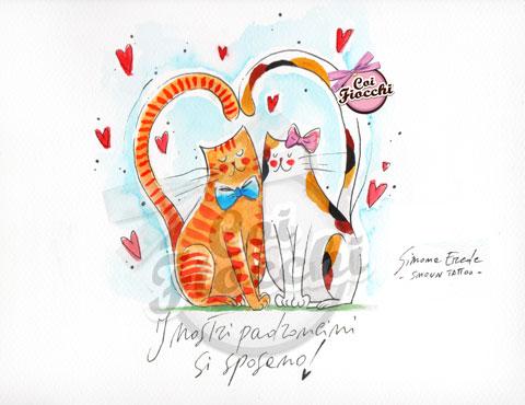 partecipazione di nozze con illustrazione di gatti innamorati