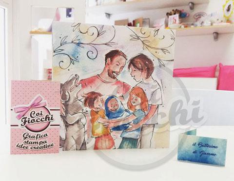 partecipazioni-di-matrimonio-illustrate-ad-acquerello-famiglia-con-cane