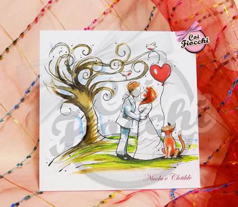 partecipazione di matrimonio illustrata ad acqurello con sposini innamorati e l'albero della vita sullo sfondo