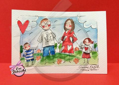 partecipazione- di matrimonio illustrata che ritrae gli sposi con i due figli