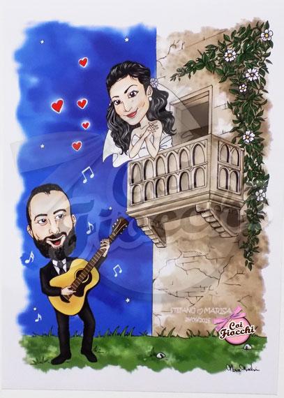 biglietto di auguri con caricature super deformed degli sposi stile romeo e giulietta
