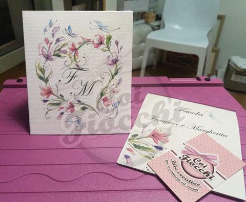 cavallotti-segnatavolo-illustrati-acqurello con ghirlande di fiori e farfalle